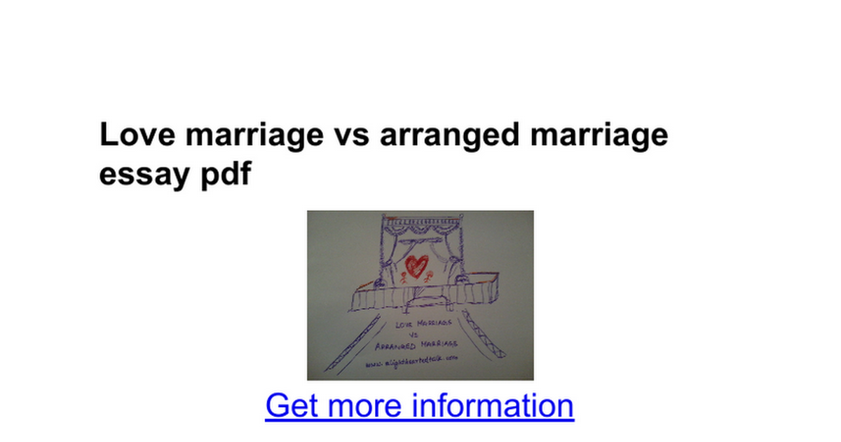 love marriage vs arranged marriage essay pdf google docs