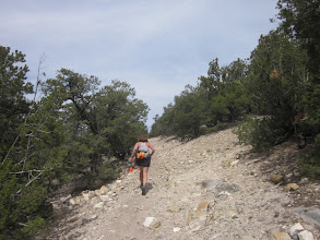 Photo: Deb cranking up another steep climb with course markers in hand