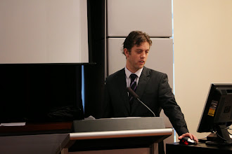 Photo: Chris Brooks presenting. He is a vascular registrar at The Alfred.