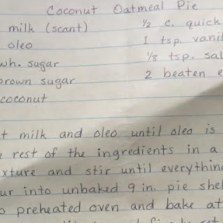 Mrs. Stutzman's Coconut Oatmeal Pie