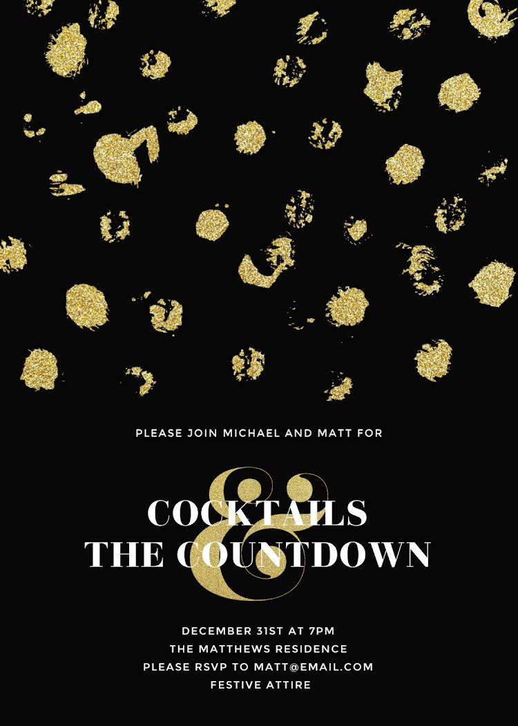 Cocktails & Countdown - New Year's Card Template