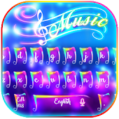 Colorful Neon Music Keyboard Theme