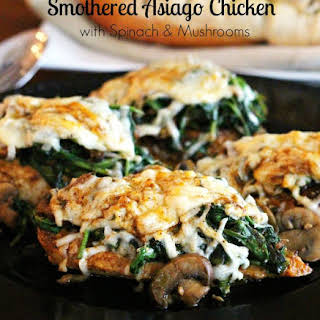Smothered Asiago Chicken With Spinach And Mushrooms.