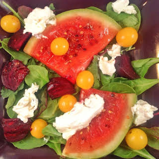 Grilled Watermelon Salad with Goat Cheese and Beets.