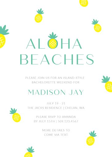 Madi's Bachelorette Party - Party Invitation Template