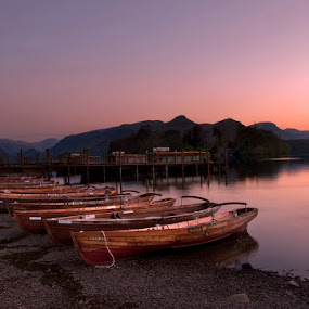 Lakes boat by Grzegorz Gluchy - Landscapes Travel ( water, sunset, lake, night, boat )