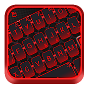Simple Neon Red Metal Keyboard Theme
