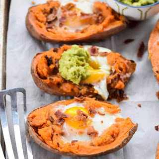Baked Sweet Potatoes with Egg.