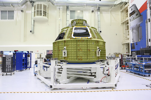 Orion EM-1 Crew Module Structural Test Article Move to Birdcage
