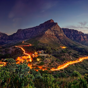 Table Mountain at Sunset by Elmer van Zyl - Landscapes Mountains & Hills ( table mountain, sunset, south africa, landscape, elmer van zyl, cape town )
