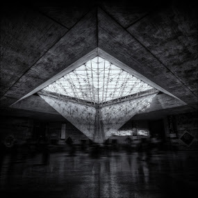 Ghosts by Conor MacNeill - Abstract Fine Art ( abstract, paris, louvre, monochrome, europe, hdr, black and white, pyramid, glass, france, museum )