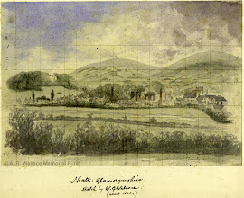 Photo: Watercolour painting of the town of Neath, Wales, by A. R. Wallace's brother William c. 1845. Copyright The A. R. Wallace Memorial fund.