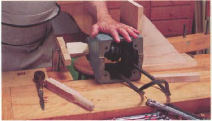 9. push the arbor and inboard bearing into place.