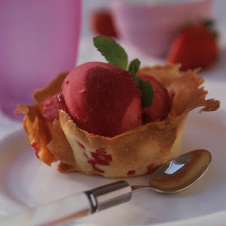 Strawberry Tuiles with Fruit Sorbet