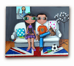 Photo: Lienzo personalizado: familia nenalizada :). 40x50 cm, pintado en acrílico y barnizado. Consultar precios