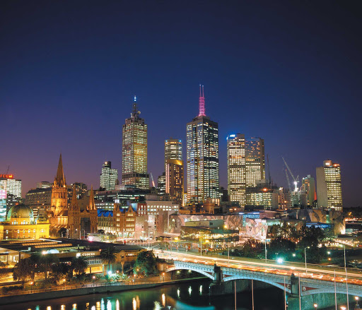 Melbourne-skyline-night - View of the Melbourne skyline at night from Federation Square in Southbank.