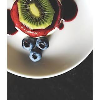 Lemon Panna Cotta With Blueberry Sauce.