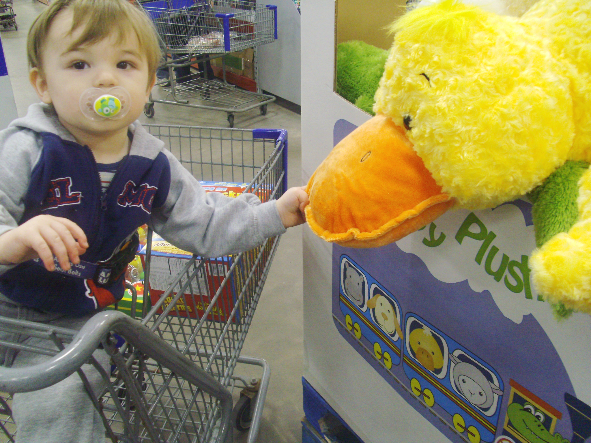 Photo: Here's his fun find at the store! He LOVES duckies!! This is a huge duck pillow that they had for Easter. I didn't get it because it was $19.99 (not bad, but I had other things to get so I couldn't spend an extra $20!) He had fun hugging and playing with the ducky for a few minutes though!