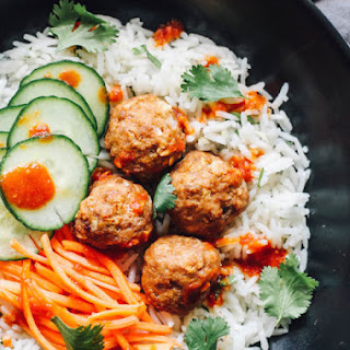 Thai Turkey Meatballs over Ginger Coconut Basmati Rice