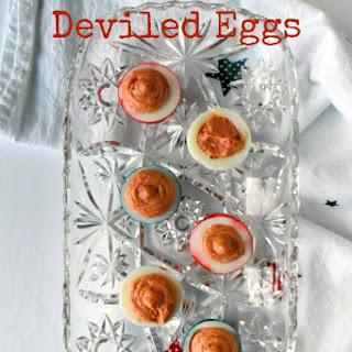 Red White & Blue Deviled Eggs.