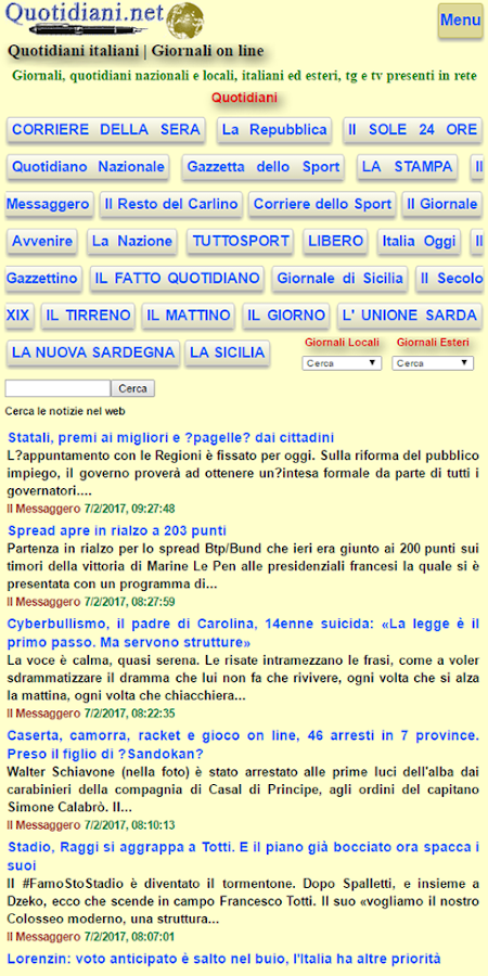 Quotidiani.net- screenshot