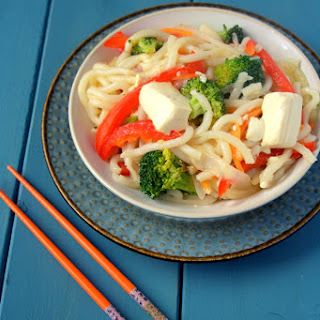 Lemongrass Udon Noodles with Veggies and Tofu.