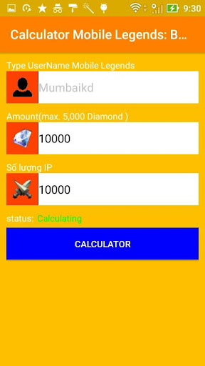 Diamond Mobile Legends Bang Bang Calculator for PC
