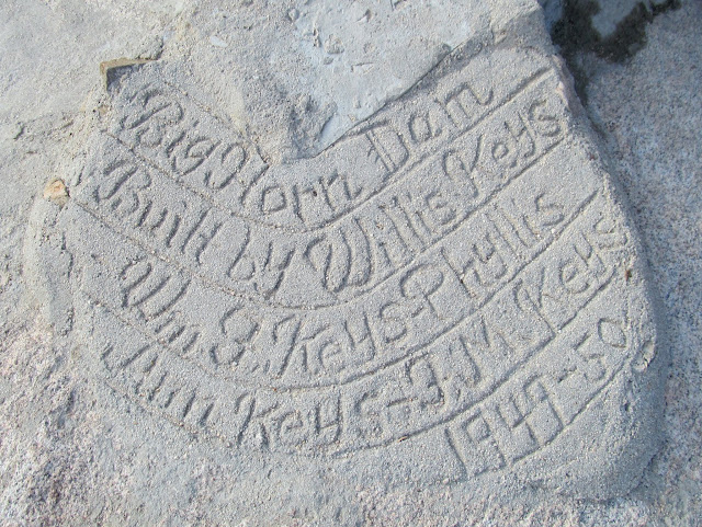 Barker Dam (aka Big Horn Dam) inscription in concrete
