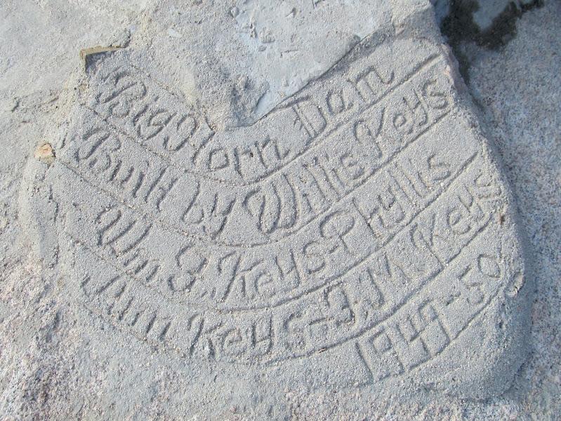 Photo: Barker Dam (aka Big Horn Dam) inscription in concrete