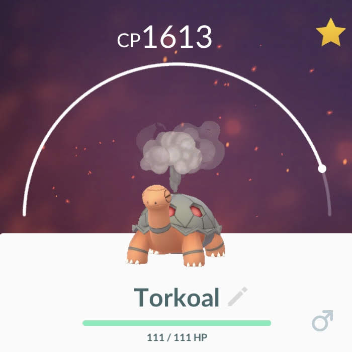 The best Torkoal I caught in Georgetown, Penang.