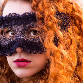 Natalia - Mask by Gabriel Fox - People Portraits of Women ( redhead, red, face, lips, fantasy, ginger, curly hair, lipstick, portrait, eyes, look, mask )