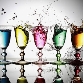 5 Glasses in a row by Peter Salmon - Artistic Objects Glass ( water, splashing, pouring, glass, mess )