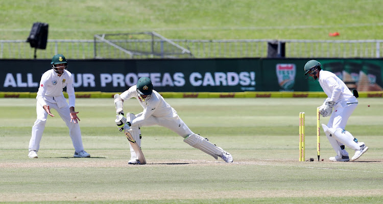 Mitchell Starc is bowled out by Keshav Maharaj during the Sunfoil Test Series match between South Africa and Australia at Sahara Kings Park Stadium, Durban South Africa on the 02 March 2018.