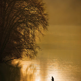 Fisherman morning by Uroš Florjančič - Landscapes Waterscapes