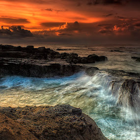 .:: mystical chaos ::. by Setyawan B. Prasodjo - Landscapes Sunsets & Sunrises ( bali, red sky, splash, waterscape, mengening beach, beach, seascape, landscape, dusk, sunset, wave, sunrise, rocks,  )
