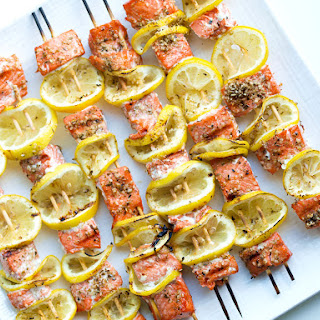 Easy Grilled Salmon Kabobs.