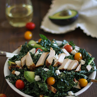Grilled Chicken Kale Caesar Salad with Avocado and Goat Cheese.