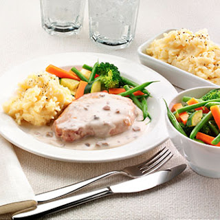 Pork Chops with a Creamy Mushroom & Garlic Sauce.