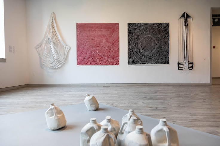 An installation at Arlington Arts Center of works by Fabiola Alvarez Yurcisin. Photo by Dawn Whitmore.