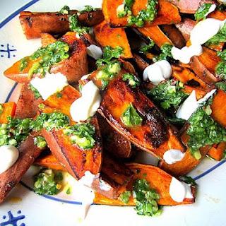 Roasted Sweet Potato Wedges w/ Chimichurri Sauce