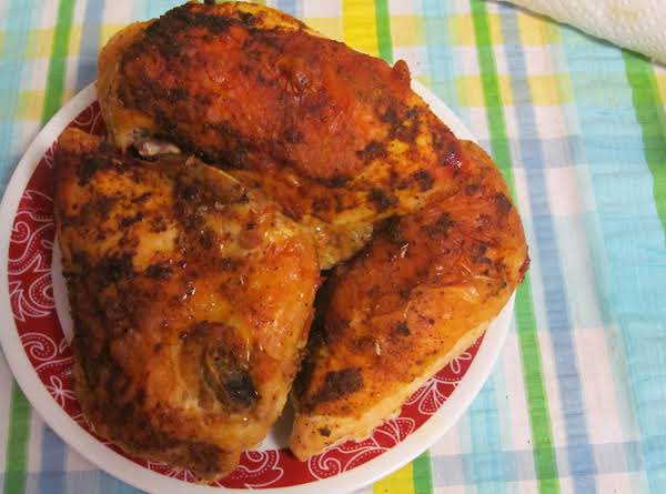 Spiced Baked Chicken Before Pan Juices Poured On Top
