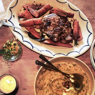 Grilled Pork Chops, Garlic Potato Purée