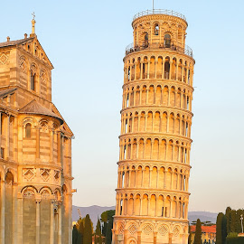 Leaning Tower of Pisa by Andrej Kozelj - Buildings & Architecture Statues & Monuments ( history, tower, tuscany, arhitecture, sunset, pisa, historic district, historical, italy, historic )