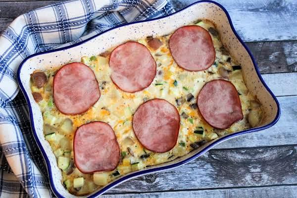 Healthy Breakfast Casserole Ready To Be Sliced.