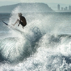 Rocketing out of the wave by Daniel Schwabe - Sports & Fitness Watersports ( pwcwatersports, coolangatta, surfer, australia, wave, aerial, surf, snapper rock )