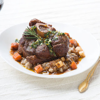 Braised Veal Osso Bucco with Gremolata and Porcini Risotto.