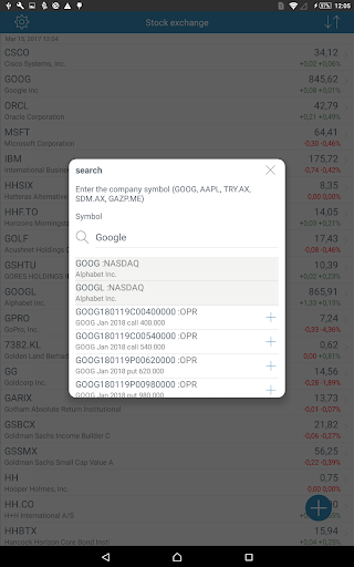 Stock Exchange app for Android screenshot