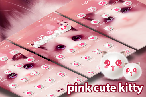 Cartoon pink cute Kitty theme 1.1.8 screenshots 2