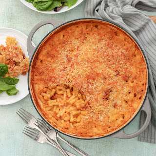 Spanish Style Macaroni Cheese with Chorizo and Manchego.