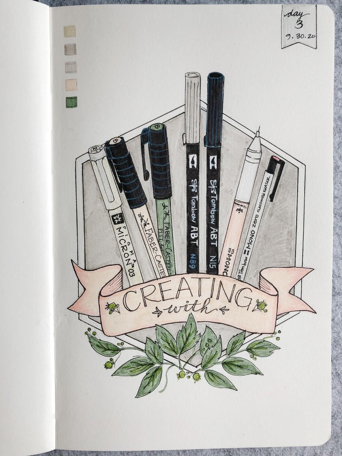 marker sketch in journal